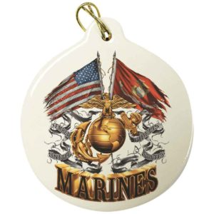 USMC Double Flag Eagle Ornament