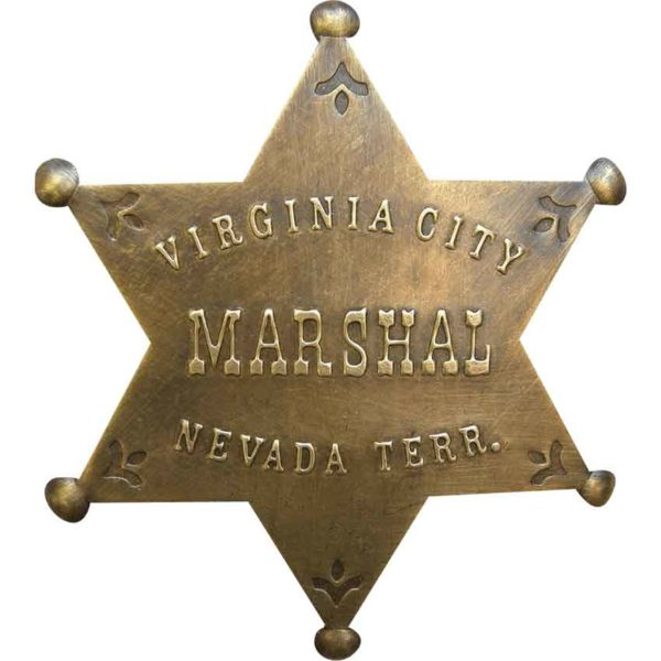 Brass Virginia City Marshal Badge