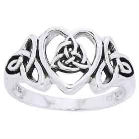 Silver Triquetra Heart Ring