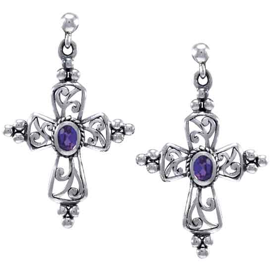 White Bronze Antique Gemstone Cross Earrings