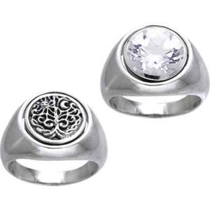 White Bronze Reversible Earth Cycle Ring