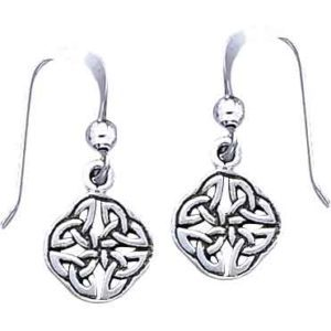 White Bronze Four Point Knotwork Earrings