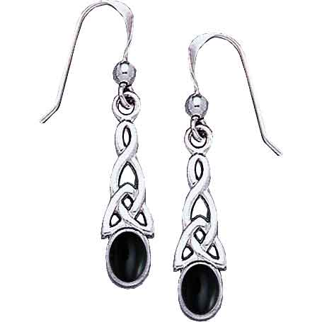 White Bronze Elongated Triquetra Gem Earrings