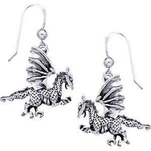 White Bronze Clawing Dragon Earrings