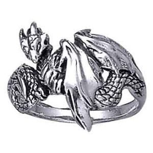 White Bronze Dragon Wrap Ring