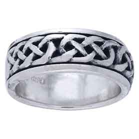 White Bronze Celtic Knot Spinner Ring