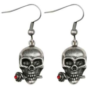 Skull with Rose Earrings