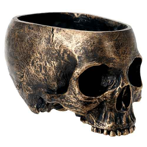 Worn Gold Skull Bowl