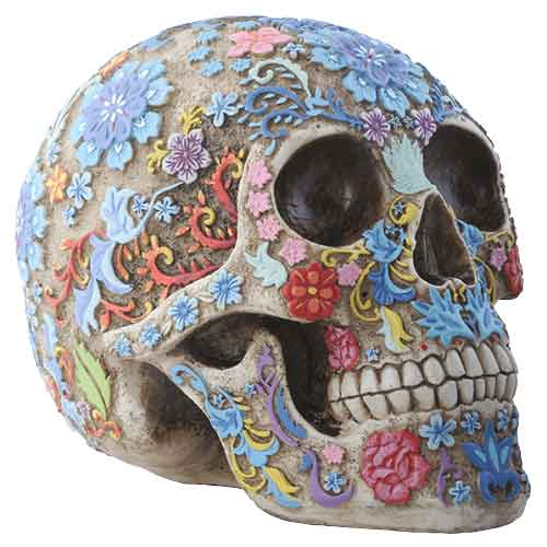Colorful Floral Skull Statue