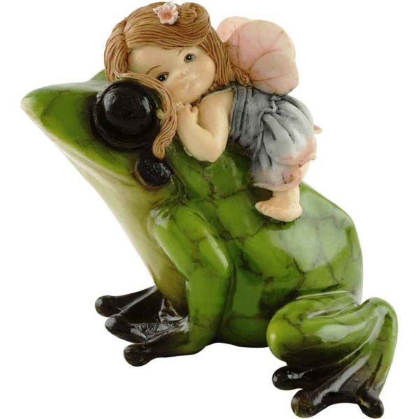 Fairy Riding Frog Statue