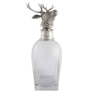 Elk Pewter Top Short Decanter