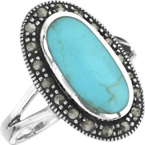Turquoise Marcasite Ring