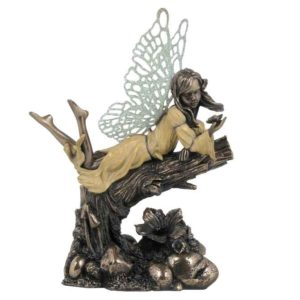 Little Fairy Leaning On Wood With Butterfly Statue
