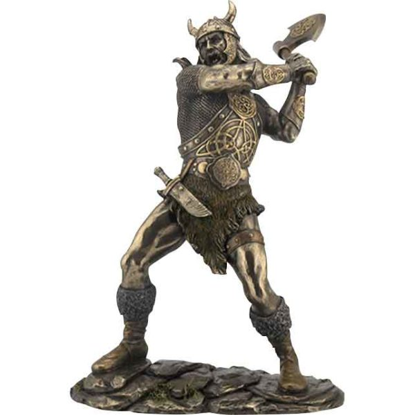 Viking Warrior Swinging an Ax Statue