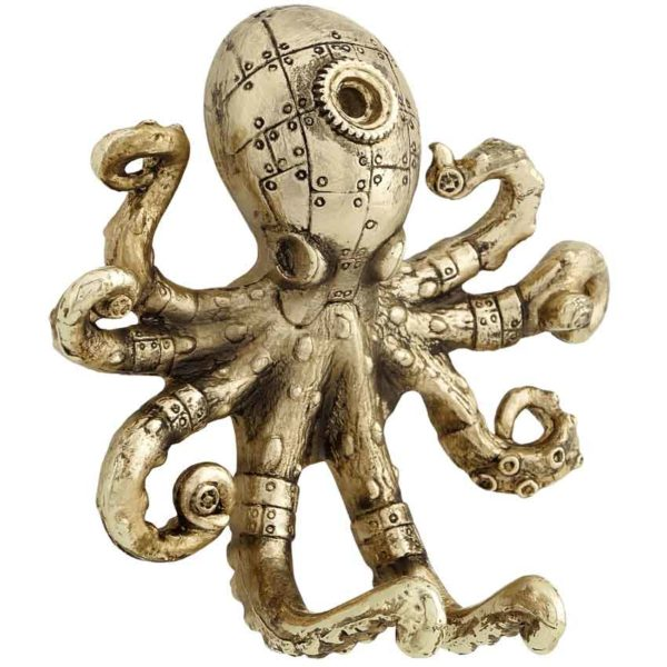 Gold Steampunk Octopus Wall Hook
