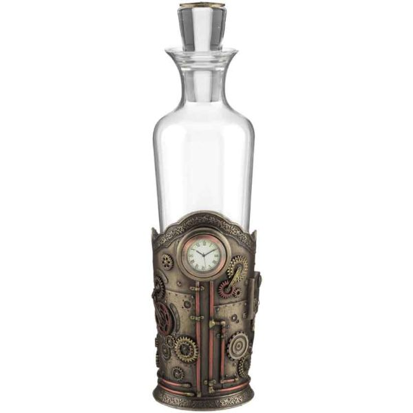 Steampunk Spirit Decanter With Clock