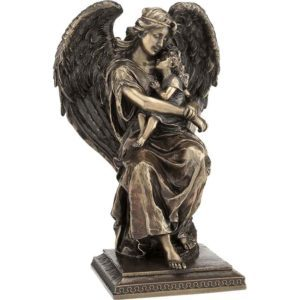 Bronze Guardian Angel with Young Girl