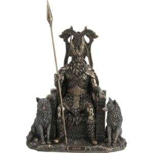 Odin on Wolf Throne Statue