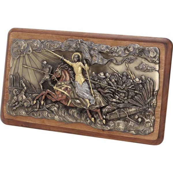 Bronze Joan of Arc Into Battle Wall Plaque