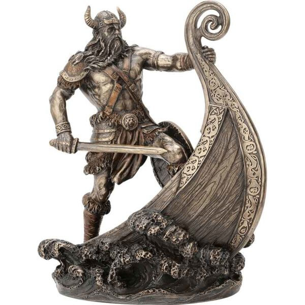Viking Warrior Standing on Prow Statue