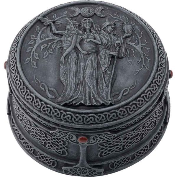 Celtic Triple Goddess Grey Trinket Box