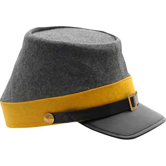 Yellow Confederate Cavalry Kepi Hat