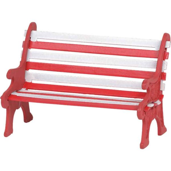 Red and White Holiday Bench - Christmas Village Accessories by Department 56