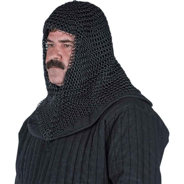 Blackened Butted Chainmail Coif
