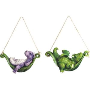 Baby Dragons on Hammock Ornament Duo