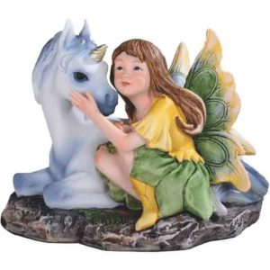 Spring Fairy with Unicorn Statue