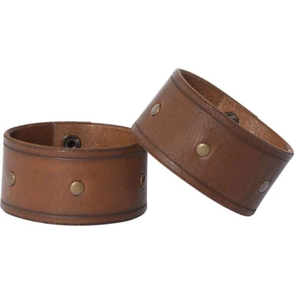 Simple Studded Leather Wrist Cuffs