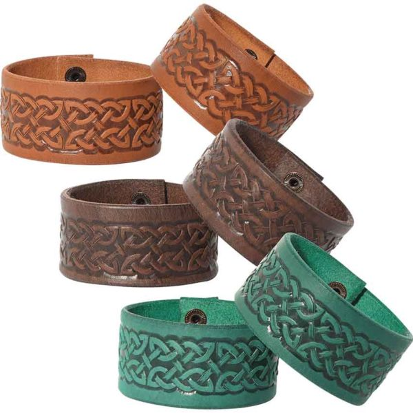 Embossed Celtic Knot Leather Wrist Cuffs