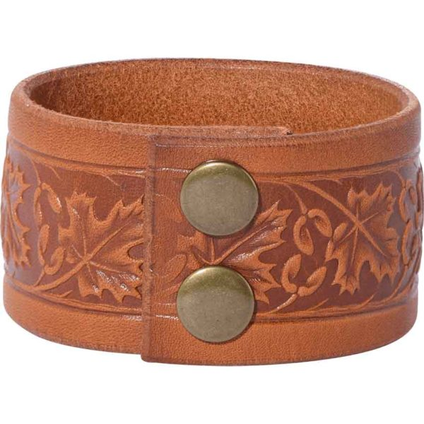 Embossed Woodland Leather Wrist Cuffs