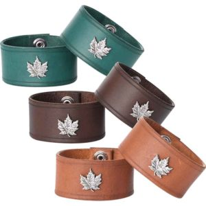 Leather Wrist Cuffs with Maple Leaf
