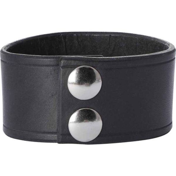 Leather Wrist Cuffs with Skull and Crossbones