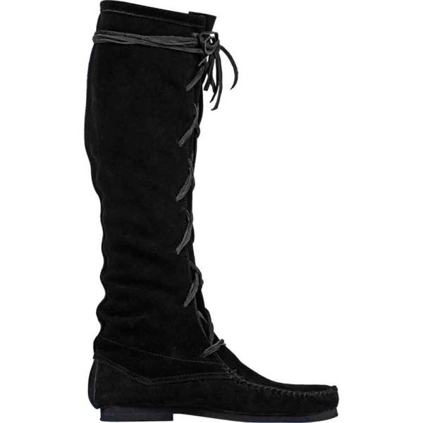 Suede Medieval High Boots - Black