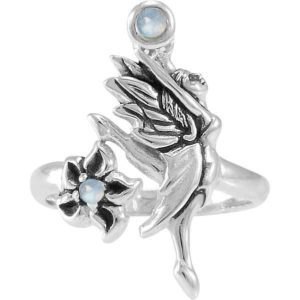 Silver Dancing Fairy with Flower Ring