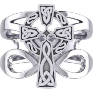 Silver Celtic Cross with Infinity Ring