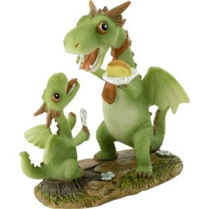 Papa Dragon and Child Eating Cake Statue