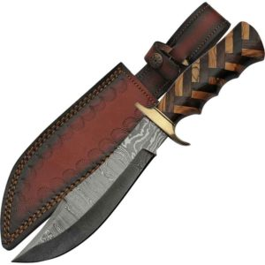 Herringbone Wood Damascus Hunting Knife