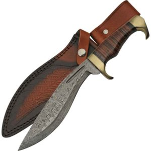 Stacked Leather Damascus Kukri