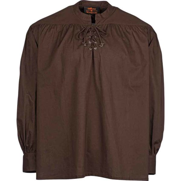 Laced Collar Medieval Shirt - Brown