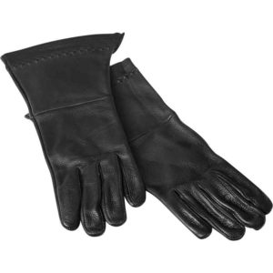 Black Embroidered Leather Gloves