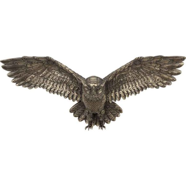 Steampunk Flying Owl Wall Plaque